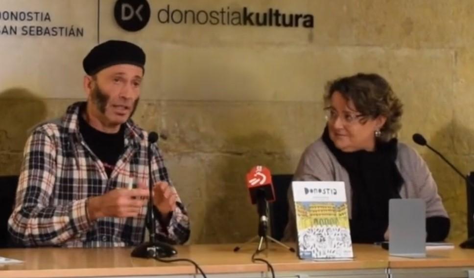 Nerea  Azurmendi  kazetariak  eta  Asisko  Urmeneta  ilustratzaileak  'Donostia'  gida  liburua  aurkeztu  dute  euskara  ikasleentzako